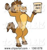 Vector Illustration of a Cartoon Stallion School Mascot Student Holding up a Report Card by Toons4Biz