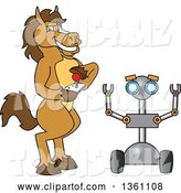 Vector Illustration of a Cartoon Stallion School Mascot Student Operating a Robot by Toons4Biz