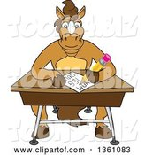 Vector Illustration of a Cartoon Stallion School Mascot Student Taking a Quiz at a Desk by Toons4Biz