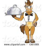 Vector Illustration of a Cartoon Stallion School Mascot Waiter Holding a Cloche Platter by Toons4Biz