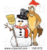 Vector Illustration of a Cartoon Stallion School Mascot Wearing a Santa Hat by a Christmas Snowman by Toons4Biz