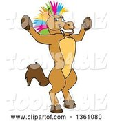 Vector Illustration of a Cartoon Stallion School Mascot with a Colorful Mohawk, Cheering by Toons4Biz