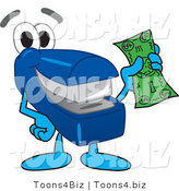 Vector Illustration of a Cartoon Stapler Mascot Holding Cash by Toons4Biz