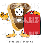 Vector Illustration of a Cartoon Steak Mascot Holding a Blank Red Sales Price Tag by Toons4Biz