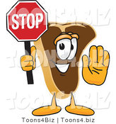Vector Illustration of a Cartoon Steak Mascot Holding a Stop Sign by Toons4Biz