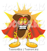 Vector Illustration of a Cartoon Steak Mascot in a Super Hero Cape and Mask by Toons4Biz