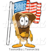 Vector Illustration of a Cartoon Steak Mascot Pledging Allegiance to the American Flag by Toons4Biz