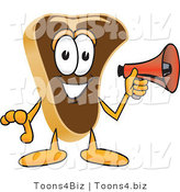 Vector Illustration of a Cartoon Steak Mascot Preparing to Make an Announcement with a Red Megaphone Bullhorn by Toons4Biz