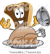 Vector Illustration of a Cartoon Steak Mascot Serving a Thanksgiving Turkey on a Platter by Toons4Biz