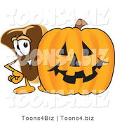 Vector Illustration of a Cartoon Steak Mascot Standing by a Halloween Pumpkin by Toons4Biz