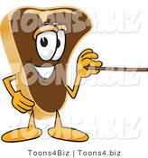 Vector Illustration of a Cartoon Steak Mascot Using a Pointer Stick by Toons4Biz