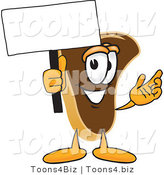 Vector Illustration of a Cartoon Steak Mascot Waving a Blank White Advertising Sign by Toons4Biz