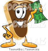 Vector Illustration of a Cartoon Steak Mascot Waving a Green Dollar Bill by Toons4Biz
