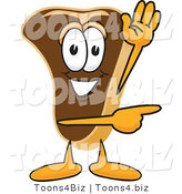 Vector Illustration of a Cartoon Steak Mascot Waving and Pointing to the Right by Toons4Biz