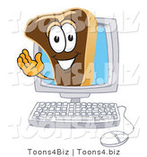 Vector Illustration of a Cartoon Steak Mascot Waving from Inside a Computer Screen by Toons4Biz