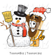 Vector Illustration of a Cartoon Steak Mascot Wearing a Santa Hat and Standing with a Snowman by Toons4Biz