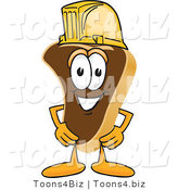 Vector Illustration of a Cartoon Steak Mascot Wearing a Yellow Hardhat by Toons4Biz