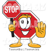 Vector Illustration of a Cartoon Stop Sign Mascot Holding a Sign by Toons4Biz