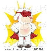 Vector Illustration of a Cartoon Super Hero Lamb Mascot over a Burst by Toons4Biz