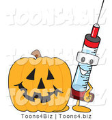 Vector Illustration of a Cartoon Syringe Mascot by a Halloween Pumpkin by Toons4Biz