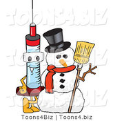 Vector Illustration of a Cartoon Syringe Mascot by a Snowman by Toons4Biz