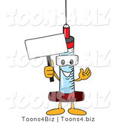 Vector Illustration of a Cartoon Syringe Mascot Holding a Blank Sign by Toons4Biz