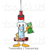 Vector Illustration of a Cartoon Syringe Mascot Holding a Dollar by Toons4Biz