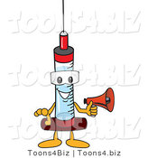 Vector Illustration of a Cartoon Syringe Mascot Holding a Megaphone by Toons4Biz