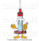 Vector Illustration of a Cartoon Syringe Mascot Holding a Pencil by Toons4Biz