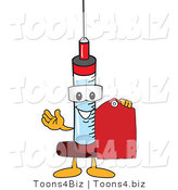 Vector Illustration of a Cartoon Syringe Mascot Holding a Red Tag by Toons4Biz