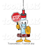 Vector Illustration of a Cartoon Syringe Mascot Holding a Stop Sign by Toons4Biz