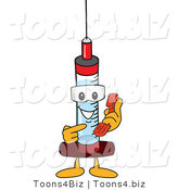 Vector Illustration of a Cartoon Syringe Mascot Holding a Telephone by Toons4Biz