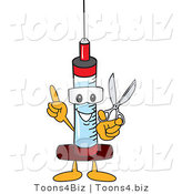 Vector Illustration of a Cartoon Syringe Mascot Holding Scissors by Toons4Biz