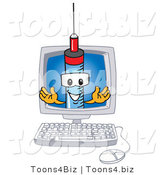 Vector Illustration of a Cartoon Syringe Mascot in a Computer Screen by Toons4Biz