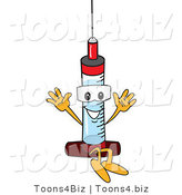 Vector Illustration of a Cartoon Syringe Mascot Jumping by Toons4Biz