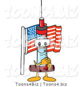 Vector Illustration of a Cartoon Syringe Mascot Pledging Allegiance to the American Flag by Toons4Biz
