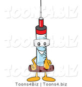 Vector Illustration of a Cartoon Syringe Mascot Pointing Outwards by Toons4Biz