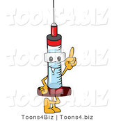 Vector Illustration of a Cartoon Syringe Mascot Pointing up by Toons4Biz