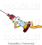 Vector Illustration of a Cartoon Syringe Mascot Reclining by Toons4Biz