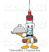 Vector Illustration of a Cartoon Syringe Mascot Serving a Platter by Toons4Biz