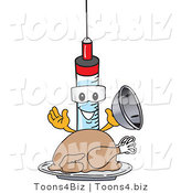 Vector Illustration of a Cartoon Syringe Mascot Serving a Thanksgiving Turkey by Toons4Biz