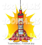 Vector Illustration of a Cartoon Syringe Mascot Super Hero by Toons4Biz
