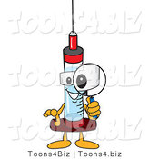 Vector Illustration of a Cartoon Syringe Mascot Using a Magnifying Glass by Toons4Biz