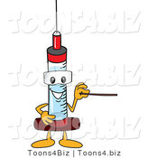 Vector Illustration of a Cartoon Syringe Mascot Using a Pointer Stick by Toons4Biz
