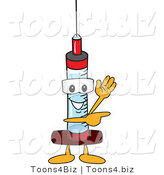 Vector Illustration of a Cartoon Syringe Mascot Waving and Pointing by Toons4Biz