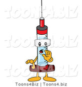 Vector Illustration of a Cartoon Syringe Mascot Whispering by Toons4Biz