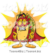 Vector Illustration of a Cartoon Taco Mascot Dressed As a Super Hero by Toons4Biz
