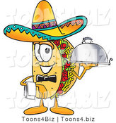 Vector Illustration of a Cartoon Taco Mascot Dressed As a Waiter and Holding a Serving Platter by Toons4Biz