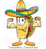 Vector Illustration of a Cartoon Taco Mascot Flexing His Arm Muscles by Toons4Biz