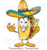 Vector Illustration of a Cartoon Taco Mascot Holding a Pencil by Toons4Biz